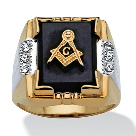 Men's Genuine Onyx Crystal Accent 14k Yellow Gold-Plated Masonic Emblem Ring