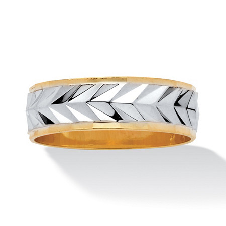Men's 18k Yellow Gold-Plated Two-Tone Textured Wedding Band