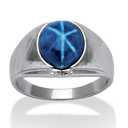 Men's Oval Shaped Simulated Blue Star Silvertone Classic Ring
