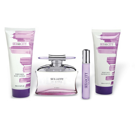 Sex In The City Lust for Women Gift Set -- 3.3 oz Eau De Parfum Spray + .25 oz Mini EDP + 6.8 oz Body Lotion + 6.8 oz Shower Gel