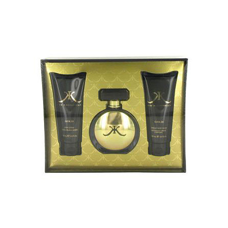 Kim Kardashian Gold by Kim Kardashian for Women Gift Set -- 3.4 oz Eau De Parfum Spray + 3.4 oz Body Lotion + 3.4 oz Body Wash