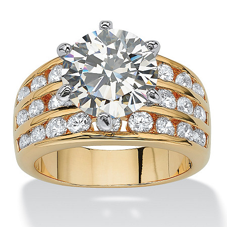 3.88 TCW Round Cubic Zirconia Ring in Yellow Gold Tone