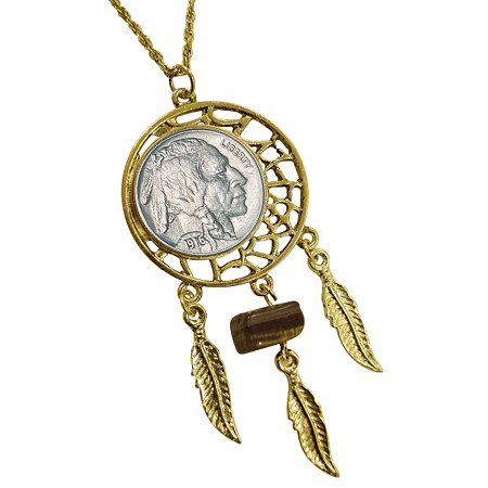 Buffalo Nickel Yellow Gold Tone Dream Catcher Pendant with Tiger Eye Stone with 24 Chain