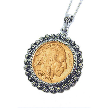 Gold-Layered Buffalo Nickel Silvertone Blossom Pendant 24 Chain