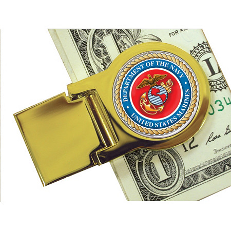 Yellow Gold Tone Moneyclip With Colorized Marines Washington Quarter