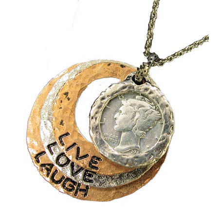 Silver Mercury Dime Tri Color Circle Pendant Live/Love/Laugh 24 Chain