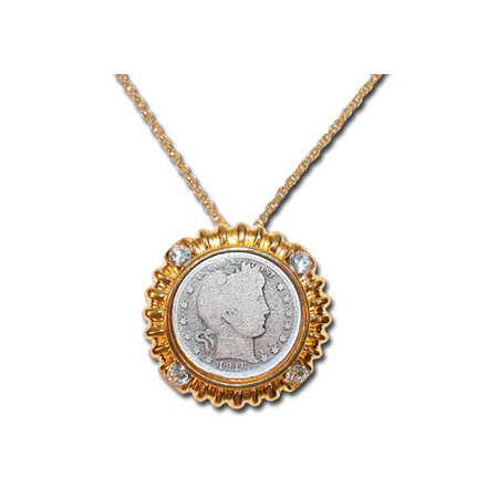 Silver Barber Quarter in Yellow Gold Tone Bezel with Crystal Accents with Yellow Gold Tone Chain