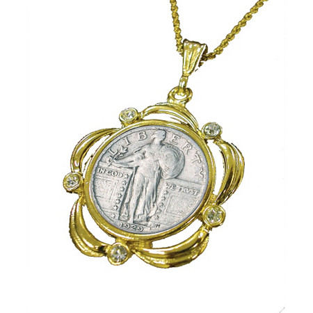 Silver Standing Liberty Quarter Yellow Gold Tone Pendant Scalloped with Crystals and 24 Chain