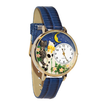 Personalized Cats Night Out Watch in gold or silver case
