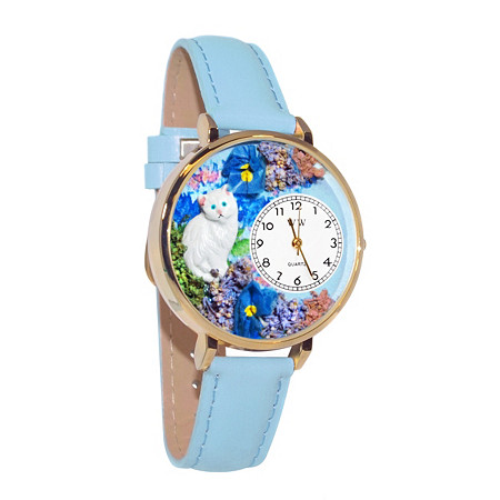 Personalized White Cat Watch in gold or silver case