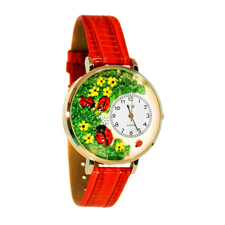 Personalized Ladybugs Watch in gold or silver case