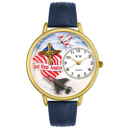 Personalized Air Force Watch in gold or silver case