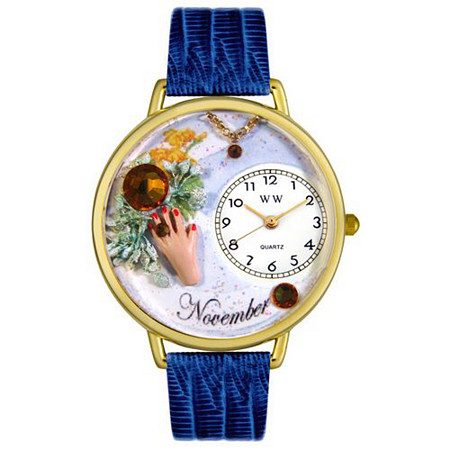 Personalized Birthstone Jewelry: November Birthstone Watch in gold or silver case