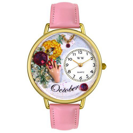 Personalized Birthstone Jewelry: October Birthstone Watch in gold or silver case