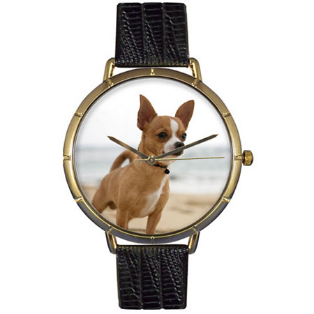 Chihuahua Photo Watch in Gold Unisex