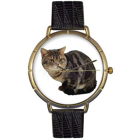 American Shorthair Cat Photo Watch in Gold Unisex