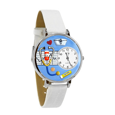 Personalized Nurse Blue Watch in Silver (Unisex)