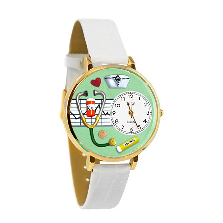 Personalized Nurse Green Watch in Silver (Unisex)