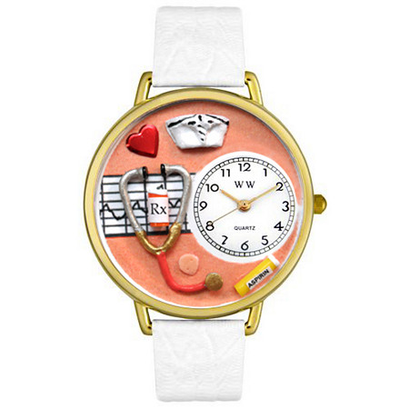Personalized Nurse Orange Watch in Gold (Unisex)