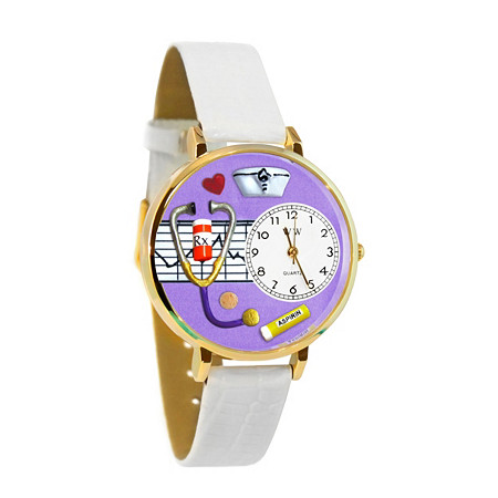 Personalized Nurse Purple Watch in Gold (Unisex)