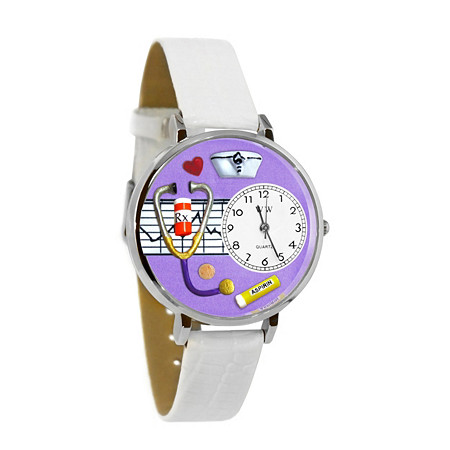 Personalized Nurse Purple Watch in Silver (Unisex)