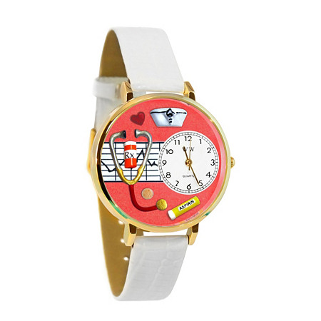 Personalized Nurse Red Watch in Silver (Unisex)