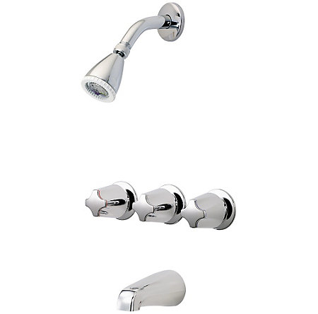 Polished Chrome Pfister Series 3-Handle Tub & Shower, Trim Only  - 01-111 - 1