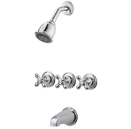 Polished Chrome Pfister Series 3-Handle Tub & Shower, Trim Only  - 01-8CBC - 1