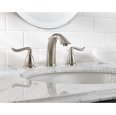 brushed nickel santiago widespread bath faucet - f-049-st0k - 2