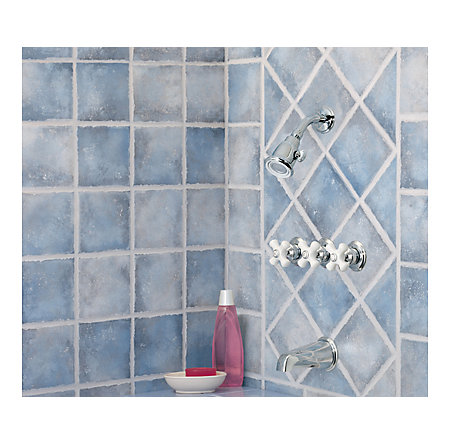 Polished Chrome / White Porcelain Savannah Tub & Shower Combo - 801-8CPC - 2