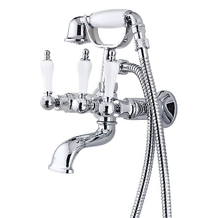 Polished Chrome Savannah 3-Handle Tub with Handshower - 801-SVHC - 1