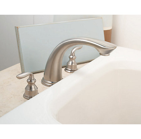 Brushed Nickel Avalon 3-Hole Roman Tub, Complete With Valve - 806-CB0K - 3
