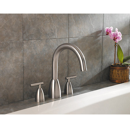 Brushed Nickel Contempra 3-Hole Roman Tub, Complete With Valve - 806-NK00 - 3