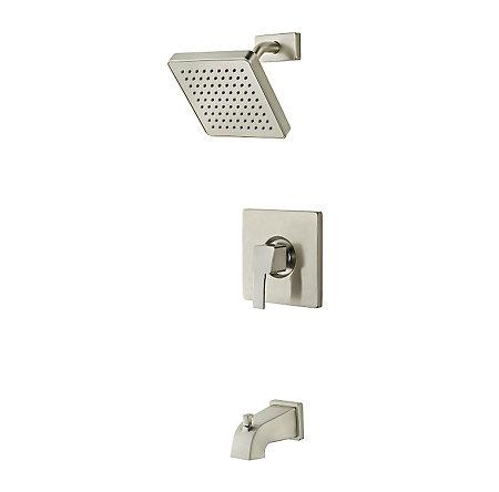Brushed Nickel Bernini 1-Handle Tub & Shower, Complete With Valve - 808-BD0K - 1