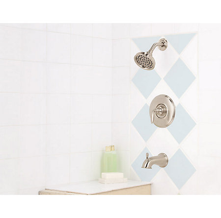 Brushed Nickel Avalon 1-Handle Tub & Shower, Complete with Valve - 808-CB0K - 2