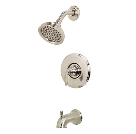 Brushed Nickel Avalon 1-Handle Tub & Shower, Complete with Valve - 808-CB0K - 1