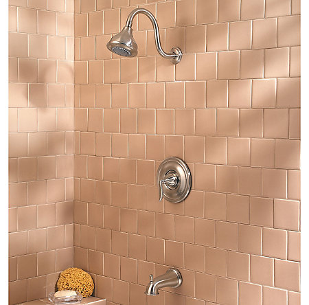 Brushed Nickel Sedona 1-Handle Tub & Shower, Complete with Valve - 808-LT0K - 2