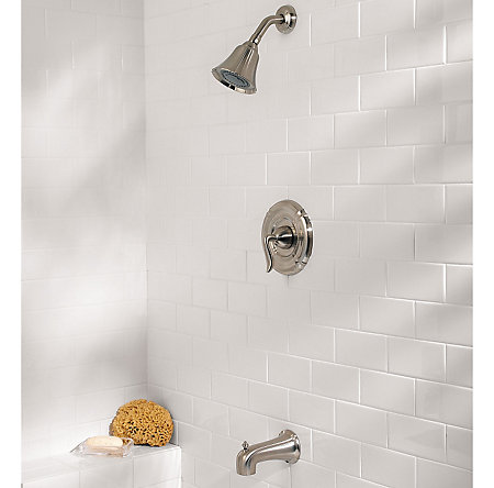 brushed nickel santiago tub & shower combo - 808-st0k - 2