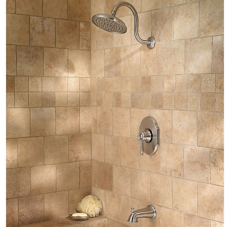Brushed Nickel Hanover 1-Handle Tub & Shower, Complete with Valve - 808-TMKK - 3