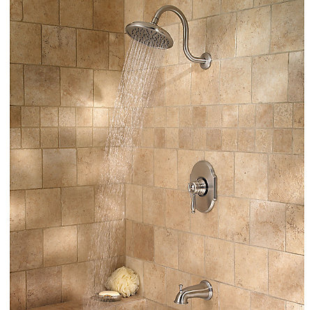 Brushed Nickel Hanover 1-Handle Tub & Shower, Complete with Valve - 808-TMKK - 4