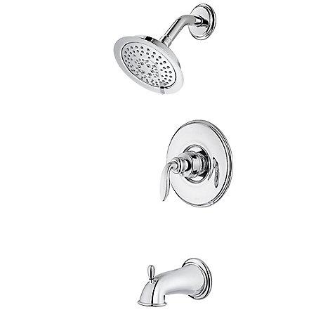 Polished Chrome Avalon 1-Handle Tub & Shower, Trim Only - 808-WS-CB0C - 1