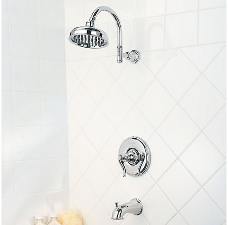 Polished Chrome Ashfield 1-Handle Tub & Shower, Complete with Valve - 808-YP0C - 2