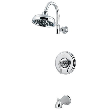 Polished Chrome Ashfield 1-Handle Tub & Shower, Complete with Valve - 808-YP0C - 1