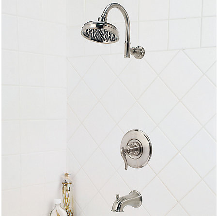 Brushed Nickel Ashfield 1-Handle Tub & Shower, Complete with Valve - 808-YP0K - 2