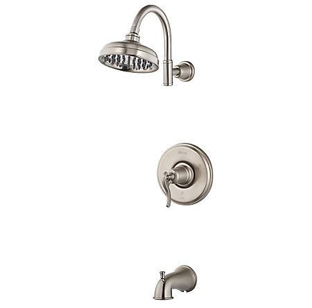 Brushed Nickel Ashfield 1-Handle Tub & Shower, Complete with Valve - 808-YP0K - 1