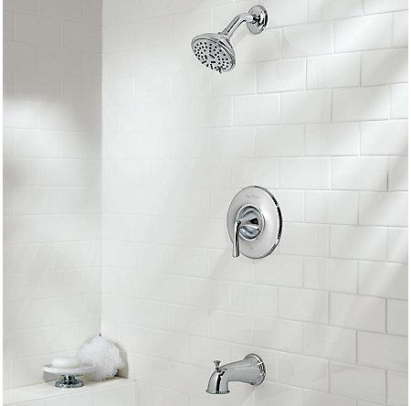 Polished Chrome Selia 1-Handle Tub & Shower, Complete With Valve - 8P8-SLCC - 2