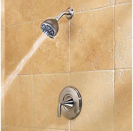 Brushed Nickel Pasadena 1-Handle Tub & Shower, Complete with Valve - 8P8-WS-PDKK - 5
