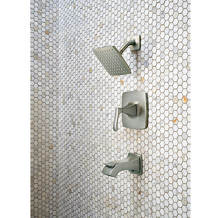 Brushed Nickel Venturi 1-Handle Tub & Shower, Complete with Valve - 8P8-WS-VNSK - 4