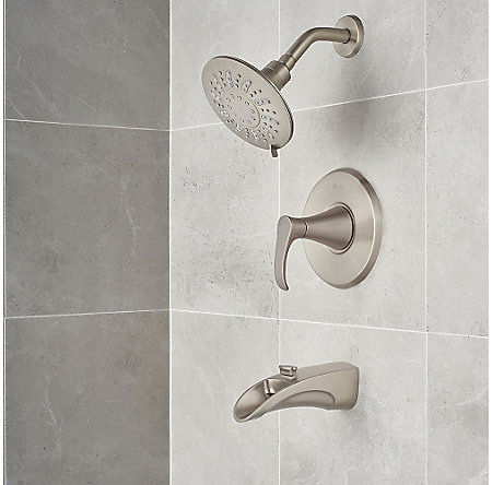 Brushed Nickel Brea 1-Handle Tub & Shower, Complete With Valve - 8P8-WS2-BRSK - 7