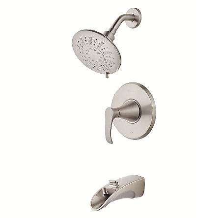 Brushed Nickel Brea 1-Handle Tub & Shower, Complete With Valve - 8P8-WS2-BRSK - 1